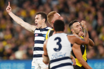 Pointing to victory: Geelong's Jeremy Cameron.