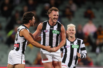 Dunn not done: Lynden Dunn celebrates a goal in his comeback from injury during round 11.