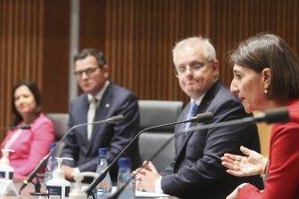 NSW Premier Gladys Berejiklian addresses a national cabinet meeting in December.