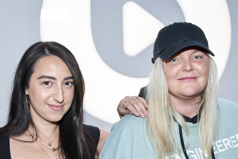 Tones and I (Toni Watson) with Brooke Reese, left, at Apple Music, Beats 1 studio in Culver City, Los Angeles