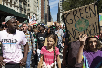 Greta Thunberg takes part in the climate strike in New York.