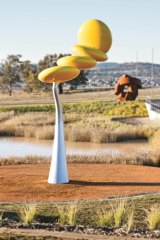 One of the public art sculptures at Denman Prospect, Protoplasm by Phil Price, who also did the similar Journeys sculpture at the Canberra Airport.