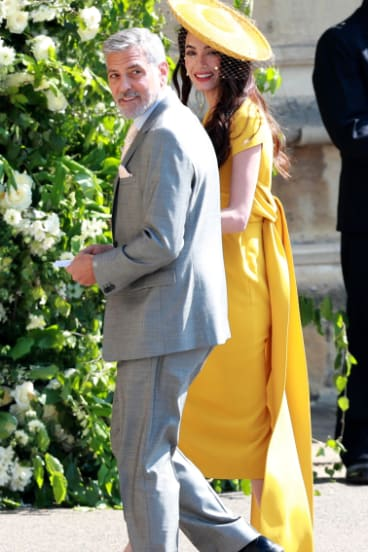 George Clooney and wife Amal Clooney arrive for the wedding.