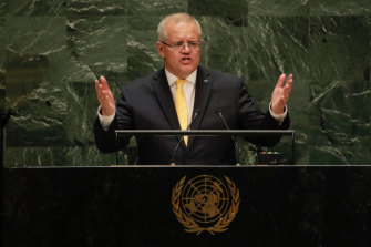 Prime Minister Scott Morrison addresses the United Nations General Assembly.