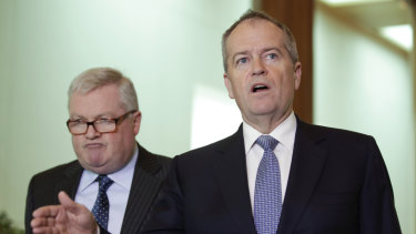Bill Shorten and lawyer Peter Gordon at Parliament House on Tuesday.