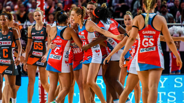 Celebration time: The Swifts enjoy their victory over the Giants in round three, but some have suggested they celebrated a little too much.
