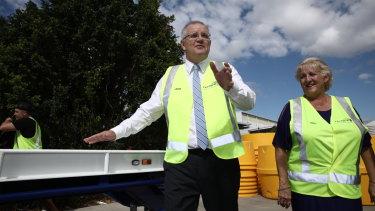 Prime Minister Scott Morrison, pictured with Capricornia MP Michelle Landry, campaigning in Rockhampton.