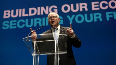 Prime Minister Scott Morrison at the Coalition campaign launch in Melbourne on Sunday.