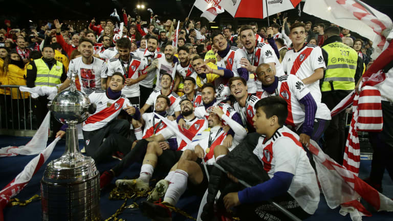 River Plate celebrate after winning the Copa Libertadores in Madrid.