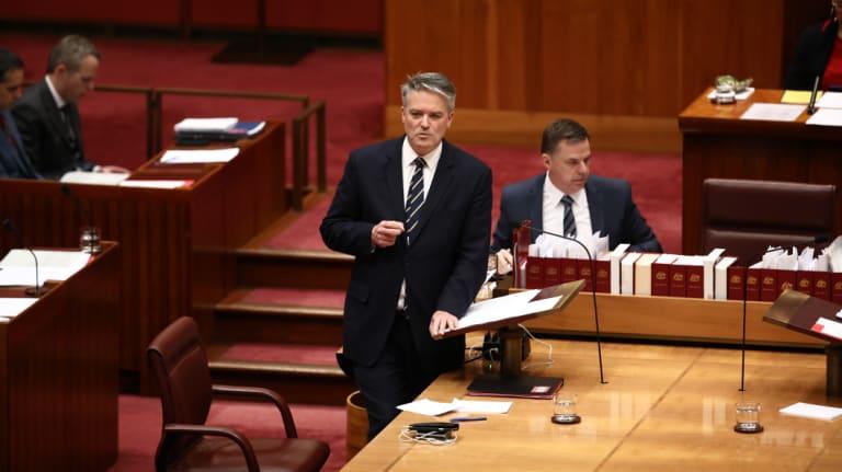 Senator Mathias Cormann in the Senate at Parliament House.