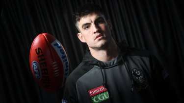 On a mission: Collingwood defender Brayden Maynard.