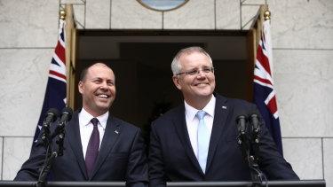 Prime Minister Scott Morrison and Treasurer Josh Frydenberg on Tuesday morning.