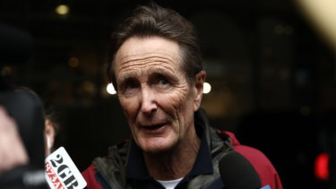 Media Watch Presenter Paul Barry speaks to media as the Australian Federal Police raid the ABC.