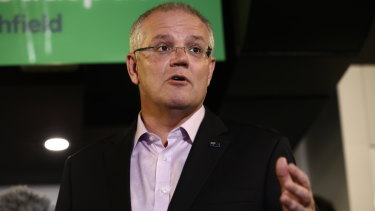 Prime Minister Scott Morrison speaking at a Headspace Centre in Ashfield on Saturday.