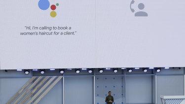 Google CEO Sundar Pichai introduces Duplex technology at Google I/O.