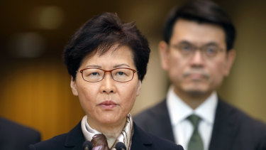 Carrie Lam, Hong Kong's chief executive, speaks during a news conference in Hong Kong on Monday.