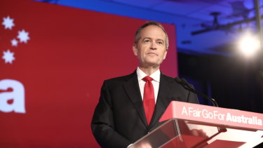 Labor leader Bill Shorten at the party's campaign launch in Brisbane on Sunday.