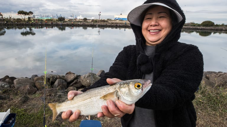 Thao Le with her catch at the Warmies on Friday afternoon.