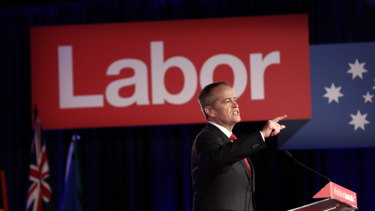 Opposition Leader Bill Shorten at the party's campaign launch in Brisbane on Sunday.