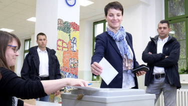 Head of the anti-migrant Alternative for Germany, or AfD, Frauke Petry casts her vote in Leipzig in September.