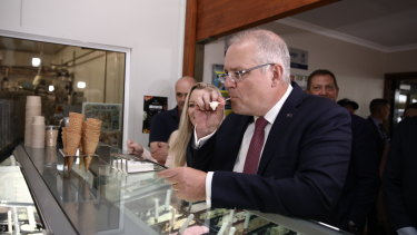 Scott Morrison and the Liberal candidate for Lyons, Jessica Whelan, sample ice-cream in Elizabeth Town, Tasmania.