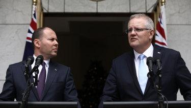 49fe3d7a59f Prime Minister Scott Morrison and Treasurer Josh Frydenberg speak to the  media on Tuesday morning.