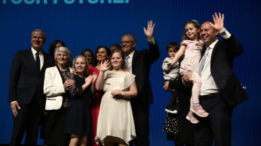 Prime Minister Scott Morrison finishes his speech at the Coalition campaign launch.