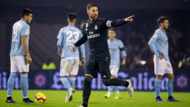 Sergio Ramos scores for Real Madrid.