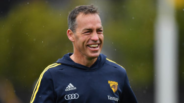 Happy hunting ground: Alastair Clarkson during pre-finals training  with Hawthorn this week.