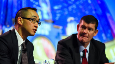 Lawrence Ho (left) and James Packer have put their Crown transaction on hold.