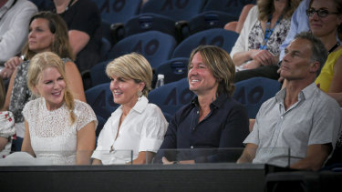 Julie Bishop with actress Nicole Kidman, musician Keith Urban and partner David Panton at the Australian Open.