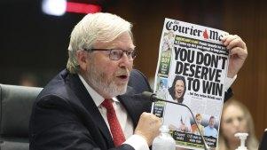 Former prime minister Kevin Rudd gave evidence at Senate hearing on media diversity in Australia on Friday.