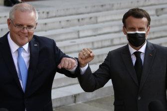 Shoulder to shoulder ... Prime Minister Scott Morrison with French President Emmanuel Macron in Paris.