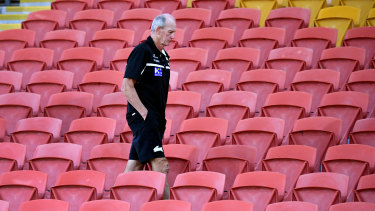 Wayne Bennett at an empty Suncorp Stadium, which was meant to house the next NRL team.
