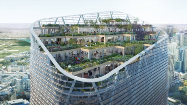The 180-metre tower will feature a staggered outdoor garden.