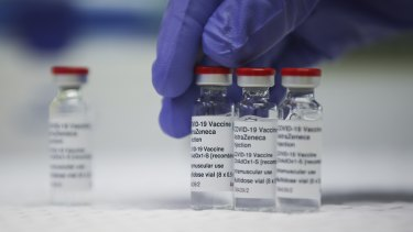 The AstraZeneca vaccine, seen here in bottles at the TGA laboratory in Canberra.