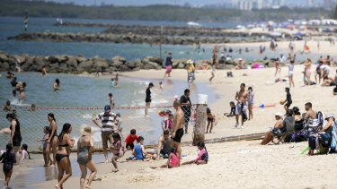 Crowds flocked to the coast on Saturday, including Ramsgate Beach, to make the most of burst of summer heat.