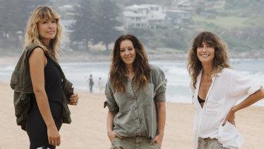 'A million miles away': Claire Tergoning, Liz Roberts and Jamie Blakey on Avalon Beach.