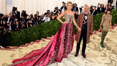 Blake Lively and Christian Louboutin at the Met Gala on May 7.