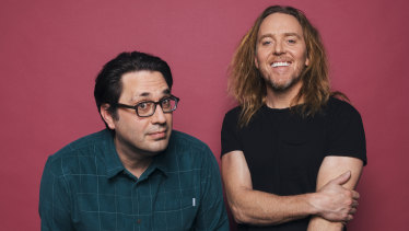 Chris Taylor (left) and Tim Minchin collaborated on the Foxtel series Upright.