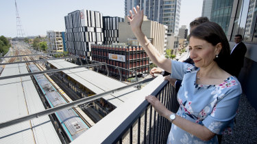 Premier Gladys Berejiklian marks the arrival of the first metro train at Chatswood.