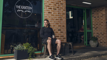 Cool beans: Brad Fittler at his wife Marie's coffee shop at Warriewood.