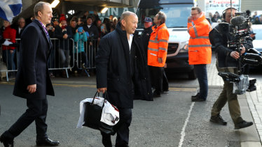 England coach Eddie Jones arrives at Murrayfield to a hot reception.