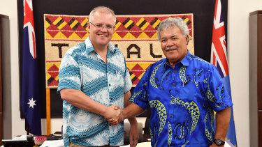 Tuvalu's Prime Minister Enele Sopoaga meets with Australia's Prime Minister Scott Morrison in Funafuti.