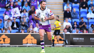 Cameron Smith saunters over for his first try since round 12 last season in the Storm's Sunday win over the Titans.