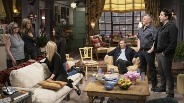 Cast and crew during the filming of Friends: The Reunion.