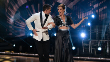 Claudia Karvan and her dance partner Aric Yegudkin perform in the audience-less studio of Dancing With The Stars.