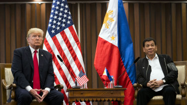 USPresident Donald Trump with Philippines President Rodrigo Duterte at the ASEAN summit in Manila last year.