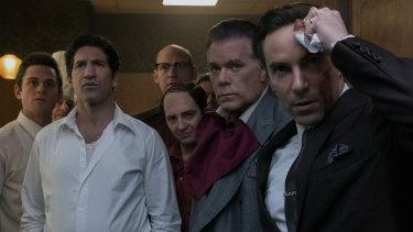 Billy Magnussen, Jon Bernthal, Corey Stoll, John Magaro, Ray Liotta and Allesandro Nivola in The Many Saints of Newark.