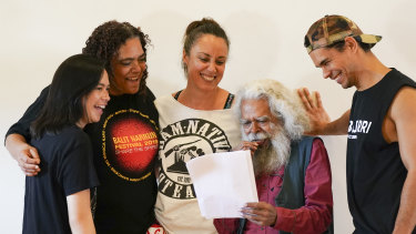 From left, Tuakoi Ohia, Lisa Maza, Lana Garland, Uncle Jack Charles and Mark Coles  Smith during rehearsals.